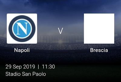 LIVE MATCH: Napoli Vs Brescia Serie A 29/09/2019