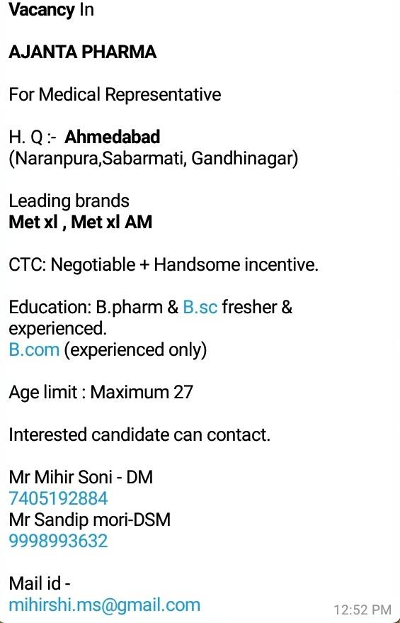 Ajanta Pharma - Job Opening for Medical Representative