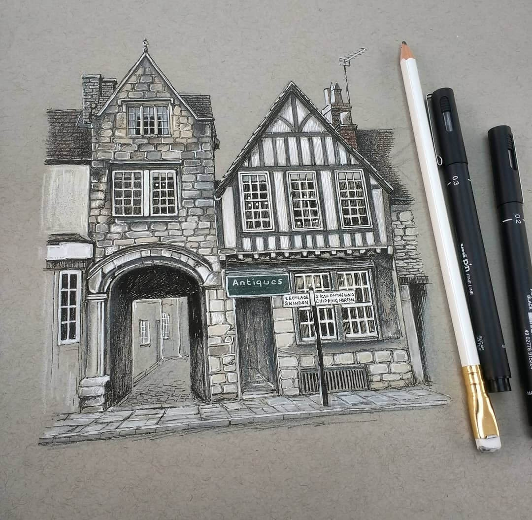 07-Old-buildings-in-Burford-Oxfordshire-Demi-Lang-Architectural-Drawings-of-Interesting-Buildings-www-designstack-co