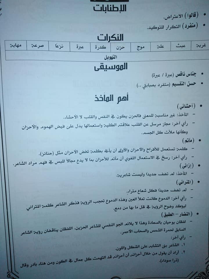 تجميع لمراجعات و امتحانات اللغة العربية للصف الثالث الثانوى  للتدريب و الطباعة 2021 5