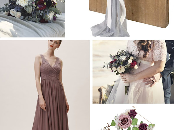 Dusty Blue Mauve and Blush Pink Wedding Color Palette - Inspiration Invitations and Free Printables
