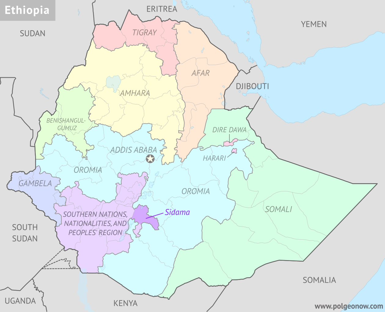 Political map of Ethiopia's regional states, highlighting Sidama Zone, which is voting in a referendum in November 2019 on whether to split off from the Southern Nations, Nationalities, and People's Region (SNNPR) to become a new regional state.