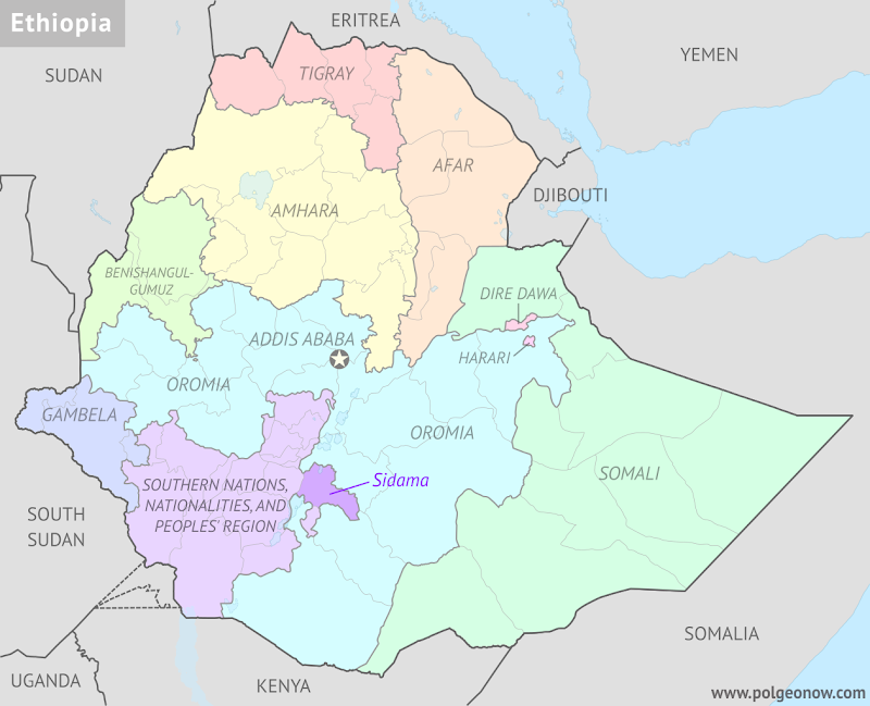 Political map of Ethiopia's regional states, highlighting Sidama Zone, which in November 2019 voted to split off from the Southern Nations, Nationalities, and People's Region (SNNPR) to become a new regional state.