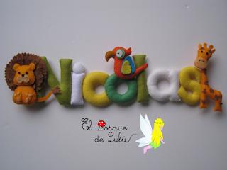nombre-fieltro-Nicolas-animales-felt-name-regalo-nacimiento-decoración-infantil-elbosqudelulu-hechoamanoparati