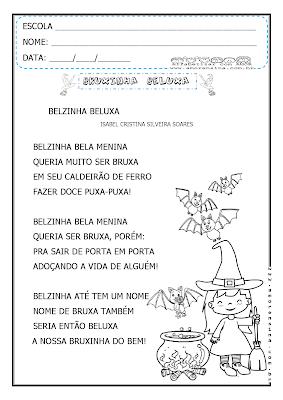1º ano, 2º ano, 2º Período, Atividades 1º ano, Atividades com Poemas, Atividades do dia das bruxas, Pequeno poema com interpretação, Pequeno poema para alfabetizar, Poema dia das bruxas, Poema Isabel Cristina, Poema lacunado,
