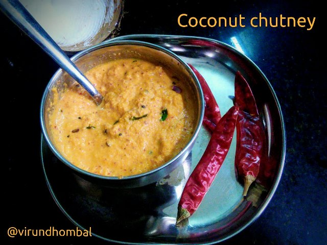 Coconut chutney with red chillies| How to prepare Coconut chutney with red chillies with step by step photos|Sivappu thengai chutney|Chutney recipes
