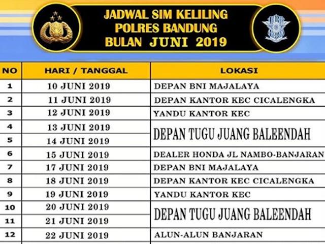 Jadwal SIM Keliling Polres Bandung Bulan Juni 2019