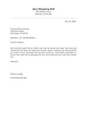 Apology Letter For Order Cancellation
