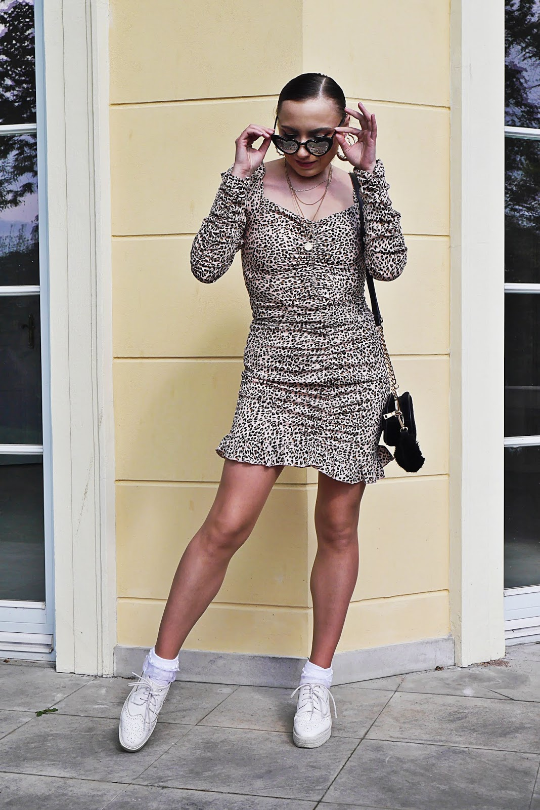 fashion blogger leopard print dress puff slaves femme luxe black bag heart sunglasses aliexpress