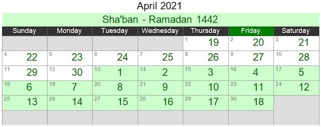 Islamic Hijri Calendar April 2021 (Sha'ban - Ramadan 1442)