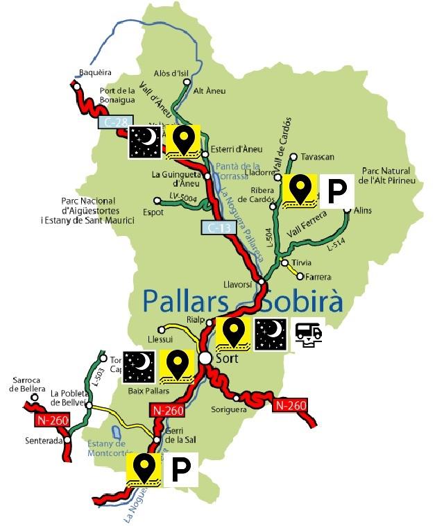 Mapa del pallars Sobirà amb els llocs visitats