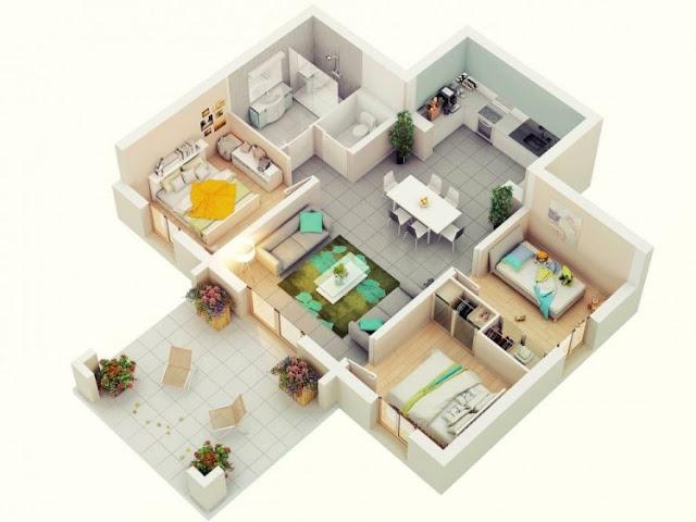 house plans l shape 3 rooms