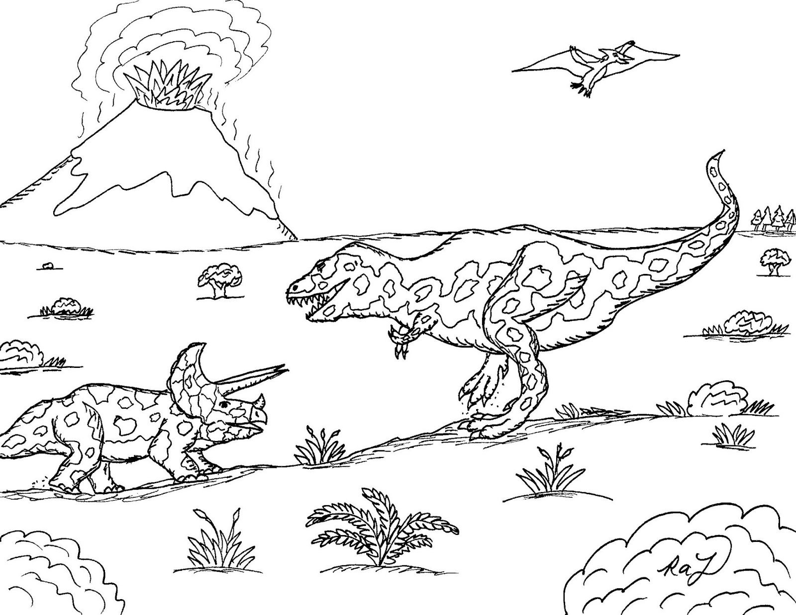 Robin S Great Coloring Pages Tyrannosaurus Rex Vs