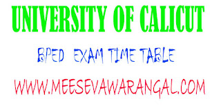 University of Calicut BPEd IInd Sem Reg/Supply June 2016 Exam Time Table
