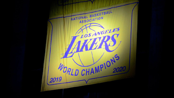 The Los Angeles Lakers' newest championship banner is finally unveiled in the rafters at STAPLES Center...on May 12, 2021.