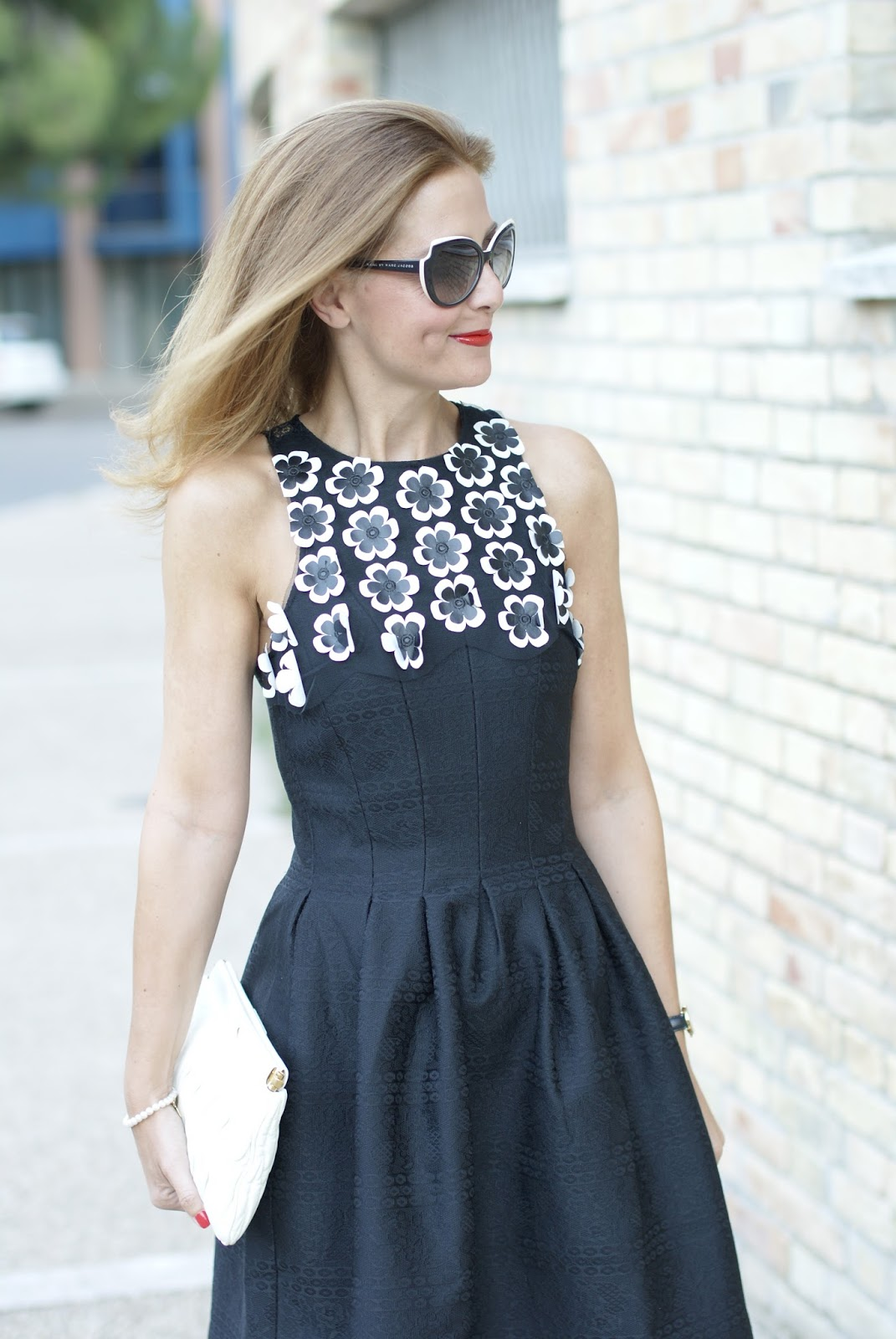 #DesigualSales black bon ton dress with 3d flowers on Fashion and Cookies fashion blog, fashion blogger style