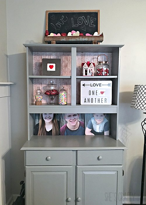 valentines home decor, chalkboard, gray cupboard, red and white