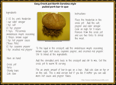 Crock pot N.C. barbecue recipe