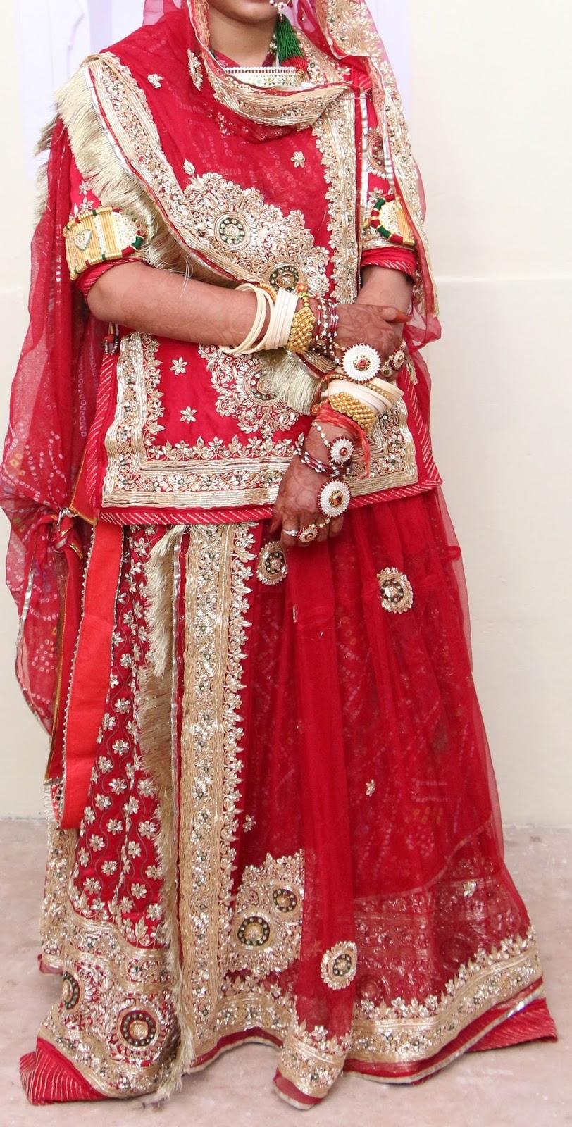 Rajputi bridal dresses (Red bari)   Culture of Rajasthan