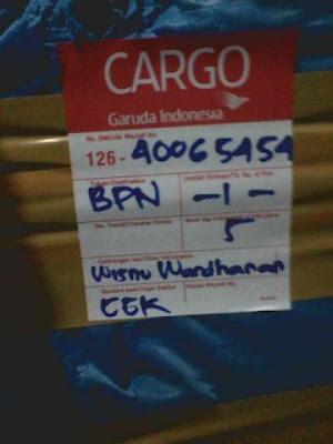 Bukti pengiriman SurgaKenari Balikpapan Cargo Pesawat
