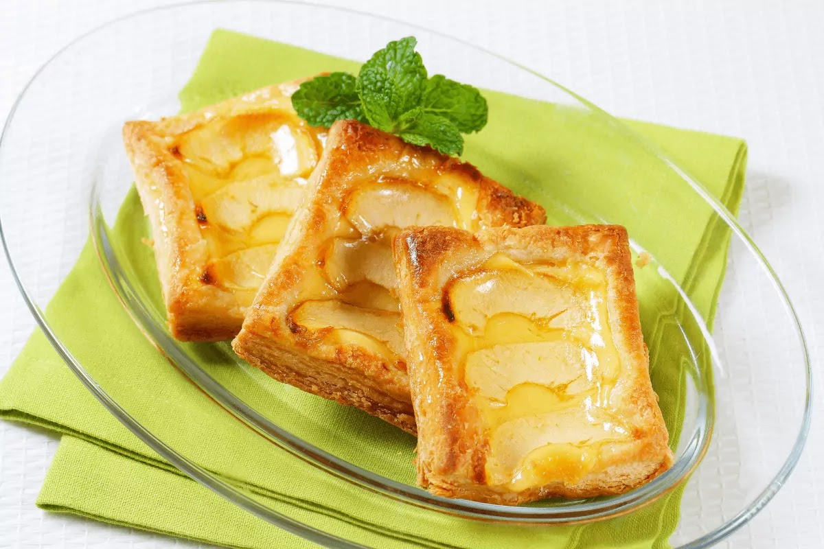 Jus Rol puff pastry filled with apple on a glass plate