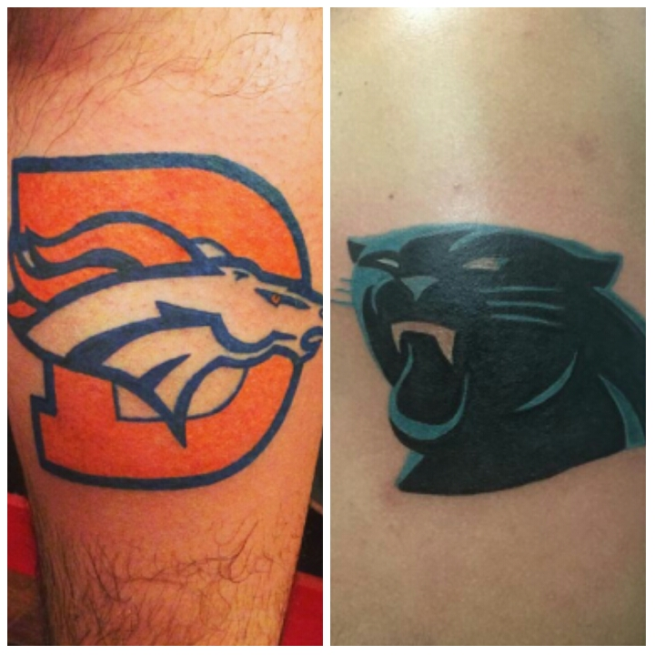 In honor of super bowl 50 tonight crazy nfl tattoos for Carolina panthers tattoos