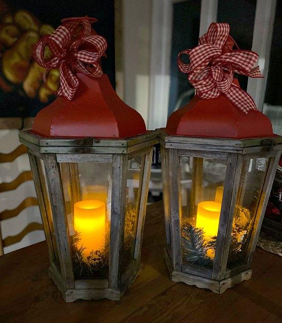 Lit Christmas Lanterns