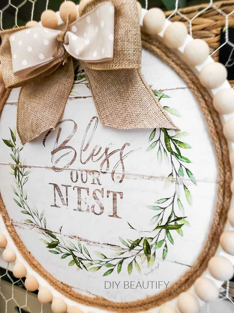 farmhouse wall decor with beads and rope
