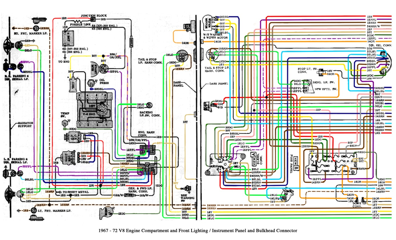 Free Auto Wiring Diagram: 19671972 Chevrolet Truck V8 Engine Compartment