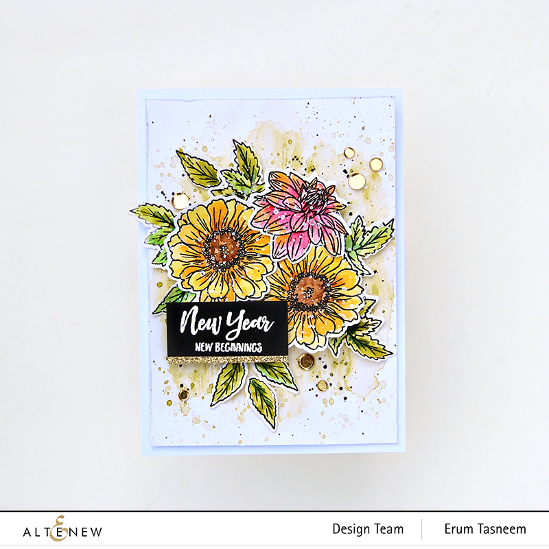 Altenew New Beginnings Stamp Set + Artist Watercolours | Erum Tasneem | @pr0digy0