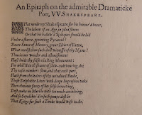 "A page of printed text, titled ""An Epitaph on the admirable Dramaticke Poet, W. Shakespeare."""