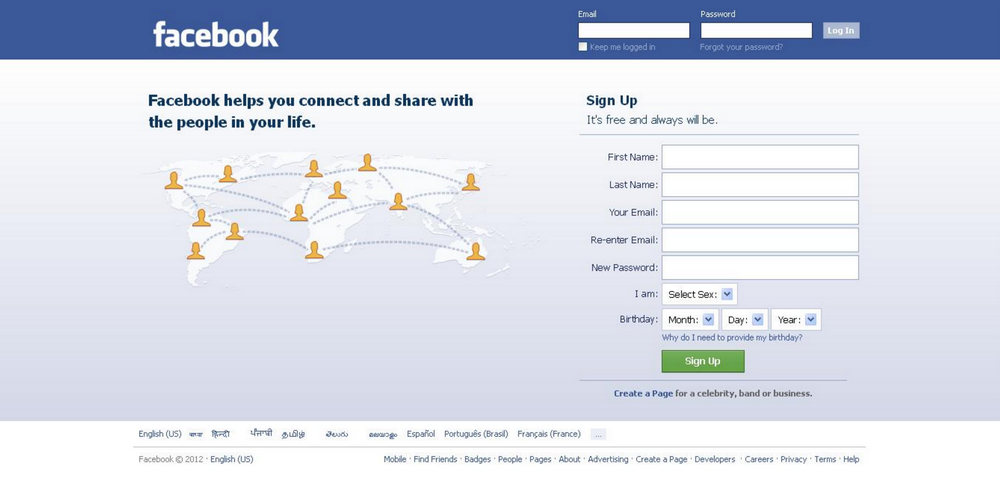 Facebook Log-in Page 2012