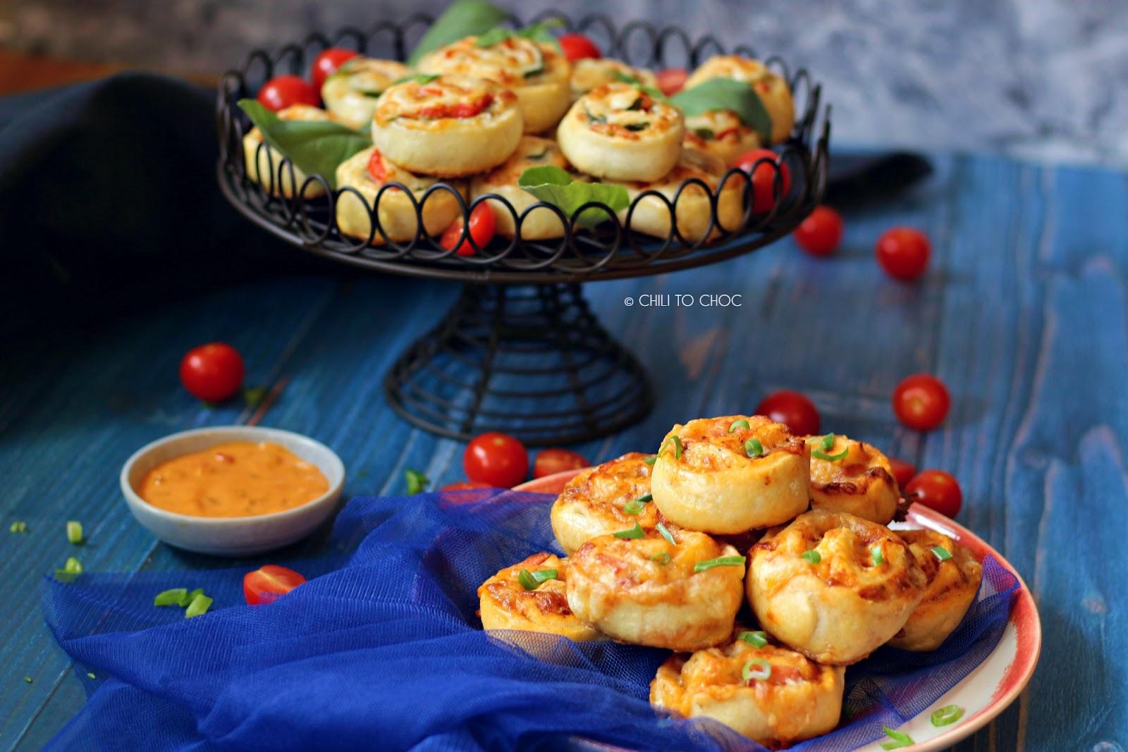 Sausage and Caprese Pizza Rolls