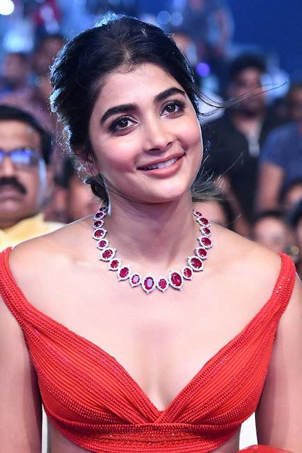 Telugu Heroine Pooja Hegde Hottest HD Photos in Red Dress Actress Trend