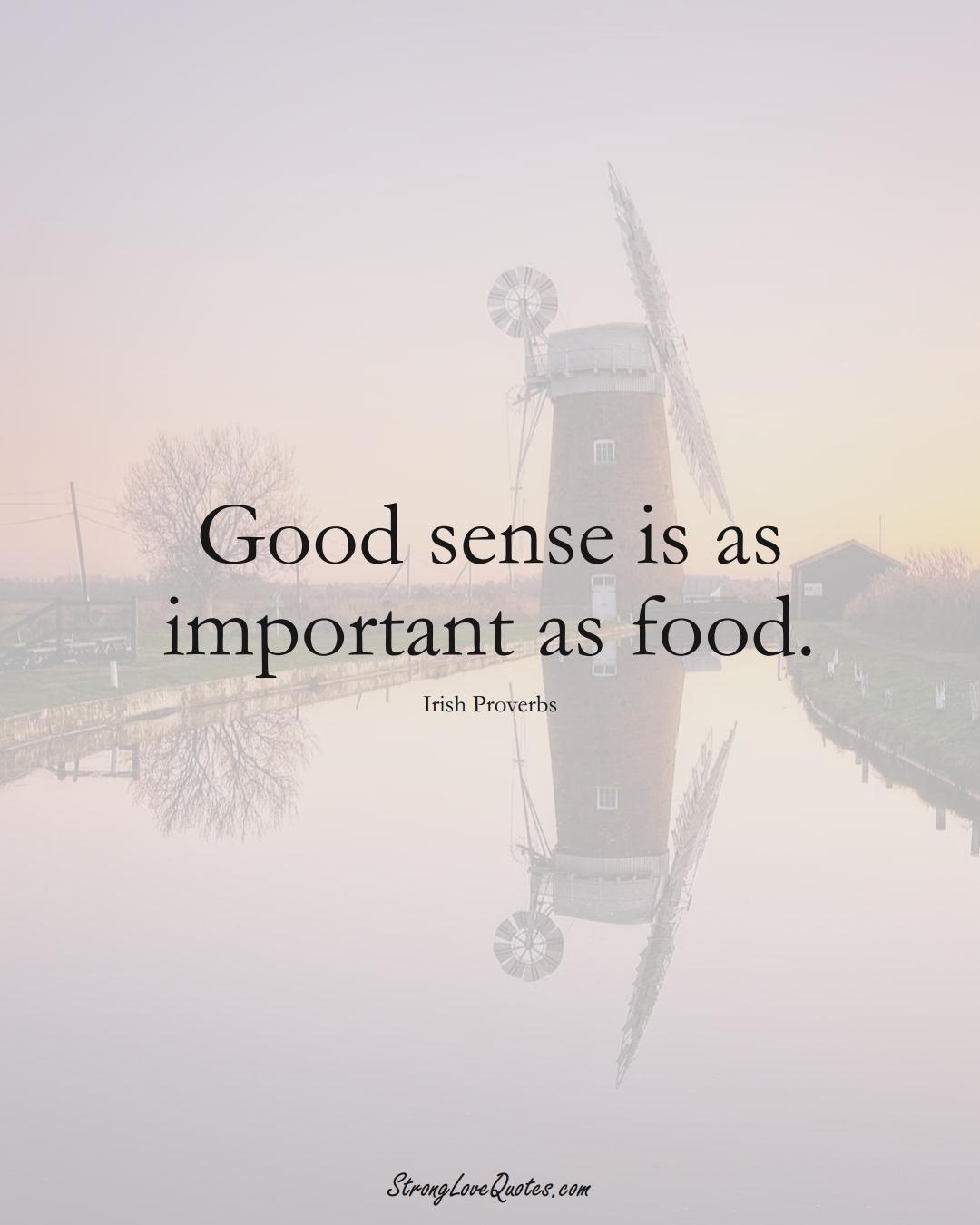 Good sense is as important as food. (Irish Sayings);  #EuropeanSayings