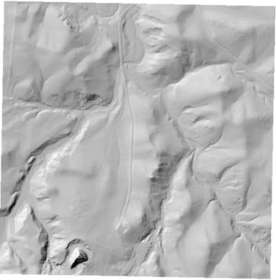 DEM with hillshading visualization