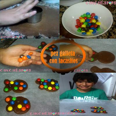 Como hacer galletas de Chocolate con lacasitos en forma de pez
