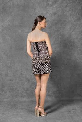 Manish Malhotra dresses Midnight black velvet strapless dress back side