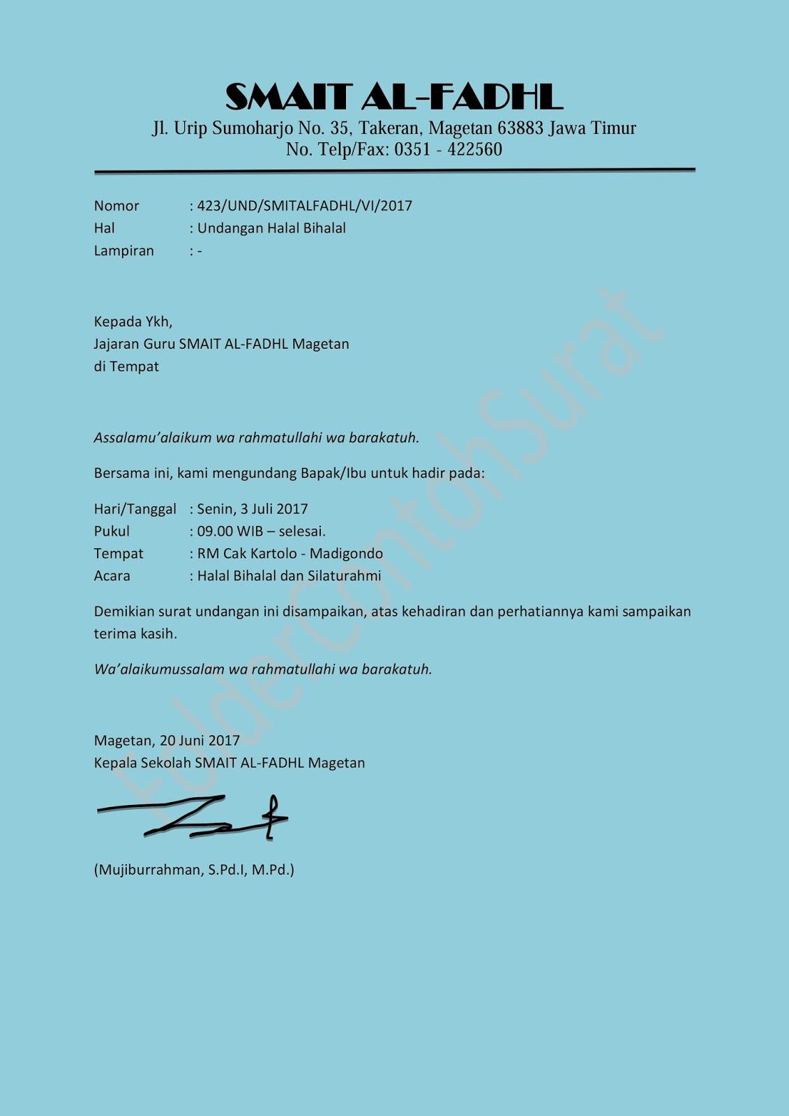 Contoh Surat Undangan Halal Bihalal Idul Fitri Folder Contoh Surat