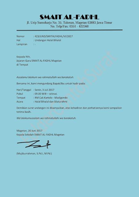 surat undangan halal bihalal sekolah