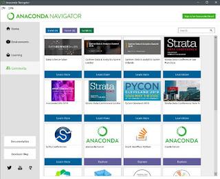 Community tab in anaconda navigator application window