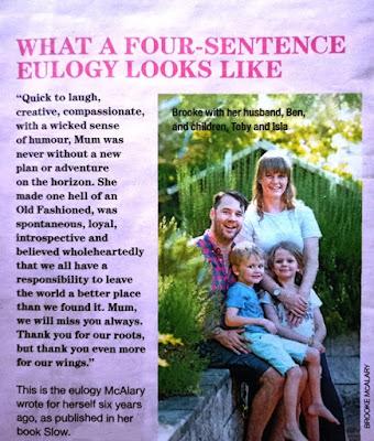 "Brooke McAlary's book ""Slow"" 4 sentence eulogy"