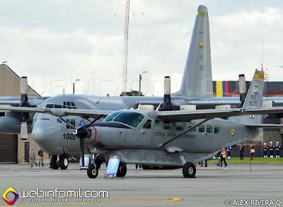 Cessna C-208B Caravan y Lockheed C-130 Hércules de la Fuerza Aérea Colombiana.