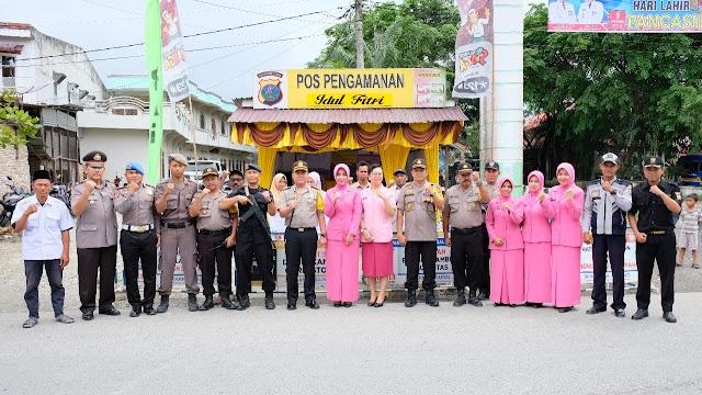 Kapolres Tanjung Balai Bersama PJU Dan Bhayangkari  Cek Dan  Kontrol Pos Pengamanan Lebaran Tahun 2019
