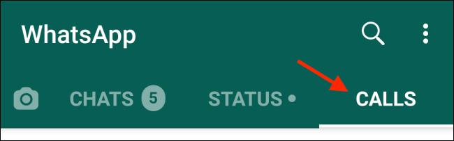 """انقر على """"المكالمات"""" في إصدار Android من WhatsApp."""