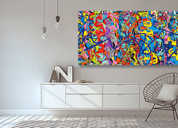 multi coloured wall art, large abstract wall art, modern graffiti art, street art, wall art, buy art online, multi coloured abstract art, Sam Freek, original art, online gallery,