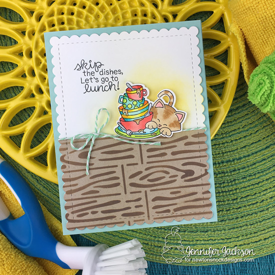 Skip the Dishes card by Jennifer Jackson | Newton Cleans Up Stamp Set and Hardwood Stencil by Newton's Nook Designs #newtonsnook #handmade