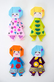 How to fold Easy, Cute, and Fun Origami Paper Doll Finger Puppets with Kids- Perfect Spring Craft!