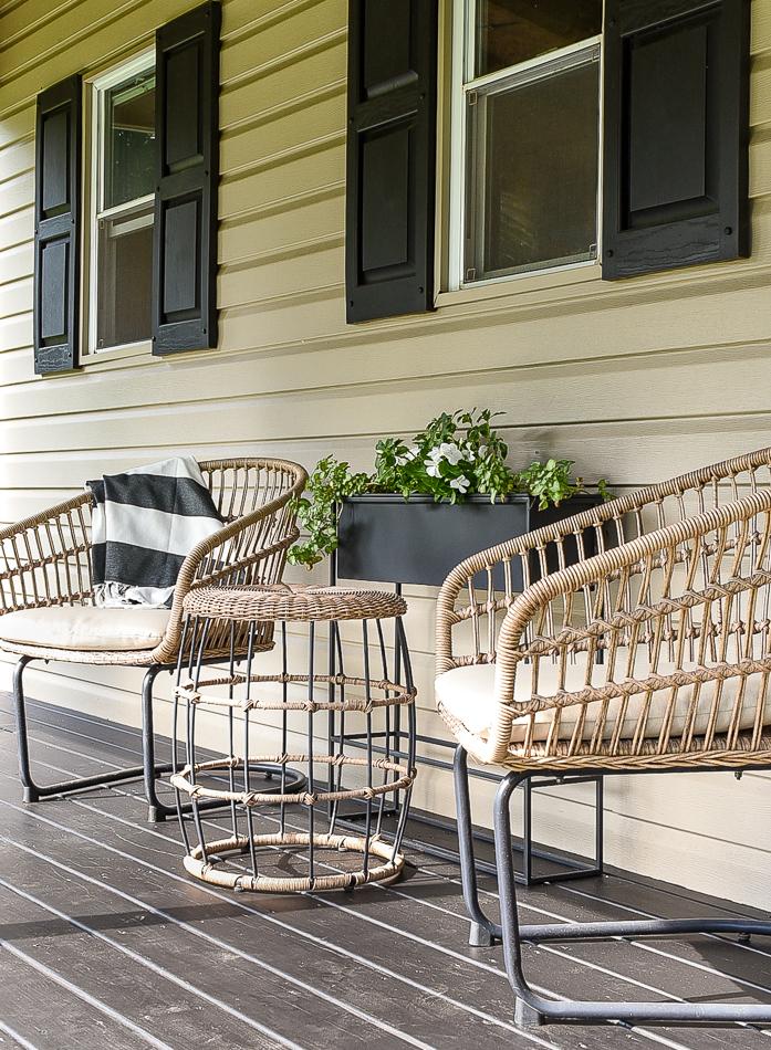 Three piece modern wicker patio set