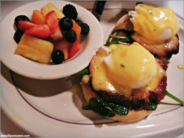 Smoked Salmon with Spinach and Tomato Eggs Benedict $15